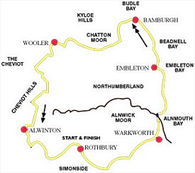Map of walk in Northumberland