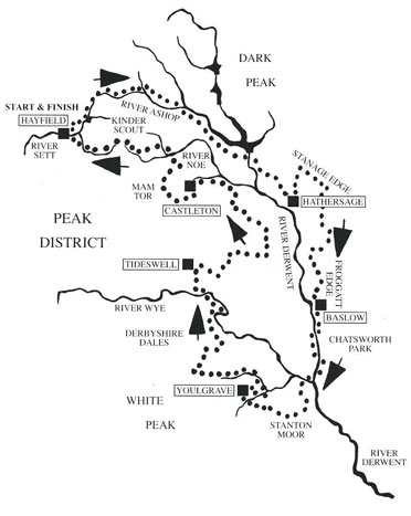 Map of walking route in the Peak District